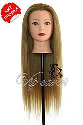 Учебная голова манекен для причесок с натуральными волосами 30% / болванка для парикмахера