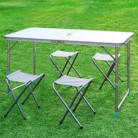Стол для пикника с 4 стульями Folding Table 120х60х55/60/70 белый