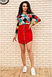 Платье женское мини с геометрическим принтом (красный, бордовый, р.42-52), фото 2