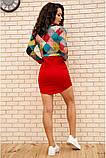 Платье женское мини с геометрическим принтом (красный, бордовый, р.42-52), фото 4