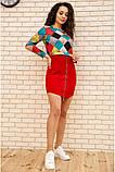 Платье женское мини с геометрическим принтом (красный, бордовый, р.42-52), фото 3