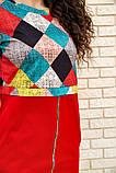 Платье женское мини с геометрическим принтом (красный, бордовый, р.42-52), фото 5