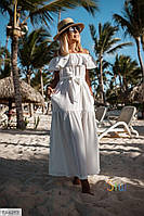 Довге літнє плаття в підлогу жіноче з воланом на грудях і відкритими плечима р-ри 42-48 арт.61