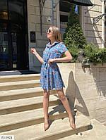 Летнее прогулочное платье короткое трапеция верх рубашка с коротким рукавом р-ры 42-48 арт.  163