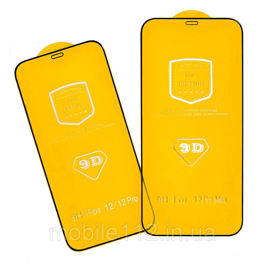 Захисне скло Apple iPhone 12 Pro Max чорне 9D Full Glue