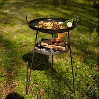 Сковорода из диска бороны 40см с подставкой для огня на высоких ножках