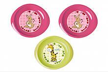 Набор тарелочек Nuvita 6м+ 3 шт мелкие Розовые и Салатовая NV1428Pink, КОД: 2425609