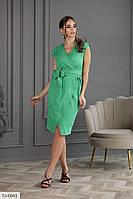 Ділове плаття-сарафан за коліно на запах без рукавів р-ри 42-46 арт. 1081