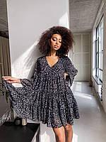 Сукня міні чорна квіти