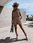 Жіночий костюм двійка річний з шортами і сорочкою, фото 5