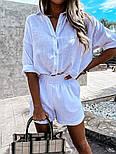 Жіночий костюм двійка річний з шортами і сорочкою, фото 4