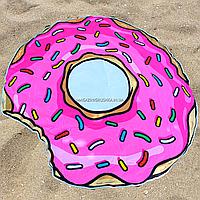 Пляжное покрывало-полотенце Пончик для отдыха на песке или траве, 150 см (K14344)