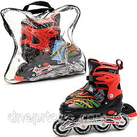 Дитячі ролики Scale Sports чорно-червоні в сумці (розмір 35-38, метал, світяться колеса ПУ) LF907MM