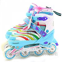 Роликовые коньки Scale Sports бело-мятные, размер 39-42, металл, светящиеся колёса ПУ LF907ML, фото 2
