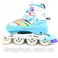 Роликовые коньки Scale Sports бело-мятные, размер 39-42, металл, светящиеся колёса ПУ LF907ML, фото 4