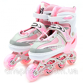 Роликові ковзани Happy рожеві, розмір 39-42, метал, світяться колеса ПУ LF905L