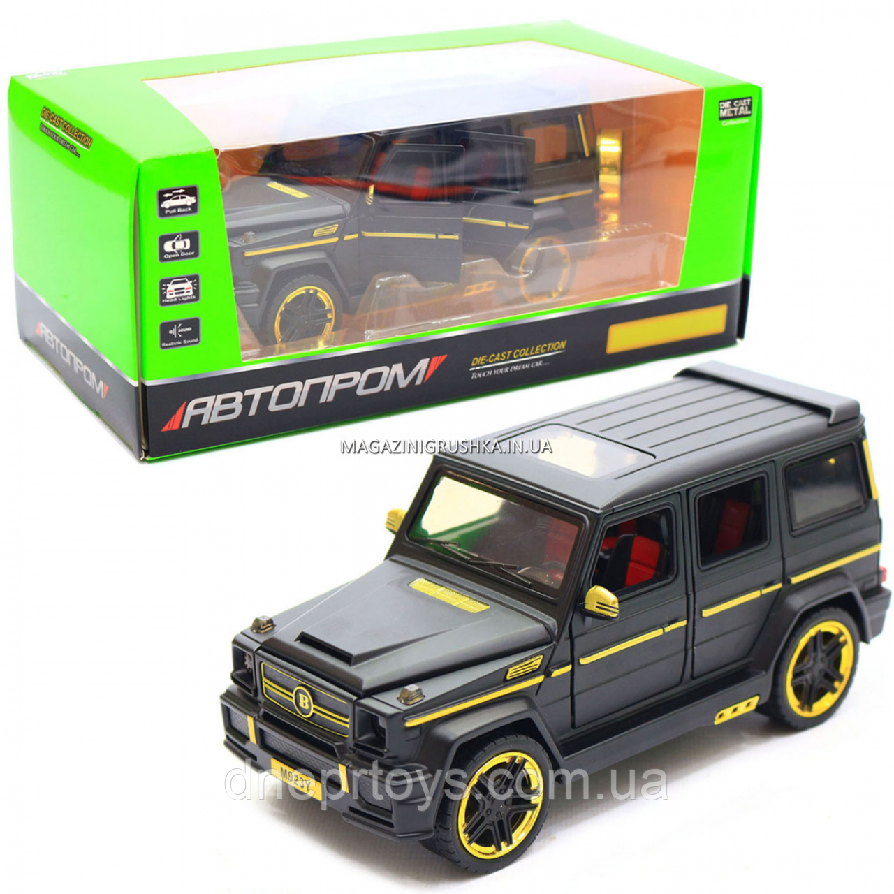 Игрушка машина Автопром Мерседес Бенц (Mercedes-Benz) черный. Гелендваген (Гелик) 20х8х10 см (7688MB)