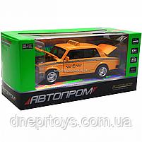 Машинка игровая автопром «Lada 2106: такси» металл, 14 см, желтый, свет, звук, двери открываются (7643), фото 2