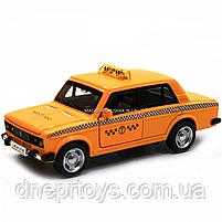Машинка игровая автопром «Lada 2106: такси» металл, 14 см, желтый, свет, звук, двери открываются (7643), фото 4
