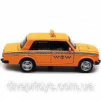 Машинка игровая автопром «Lada 2106: такси» металл, 14 см, желтый, свет, звук, двери открываются (7643), фото 5