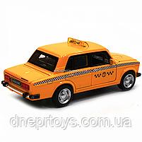 Машинка игровая автопром «Lada 2106: такси» металл, 14 см, желтый, свет, звук, двери открываются (7643), фото 6