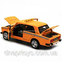 Машинка игровая автопром «Lada 2106: такси» металл, 14 см, желтый, свет, звук, двери открываются (7643), фото 7
