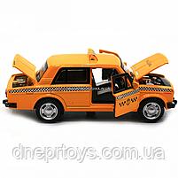 Машинка игровая автопром «Lada 2106: такси» металл, 14 см, желтый, свет, звук, двери открываются (7643), фото 8