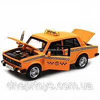 Машинка игровая автопром «Lada 2106: такси» металл, 14 см, желтый, свет, звук, двери открываются (7643), фото 9