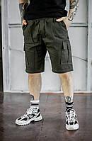 Молодежные шорты карго мужские комфортные до колен, хаки