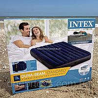 Матрас Intex надувной двухместный велюровый, кровать с подушками и насосом 152х203х25 см (64765), фото 2