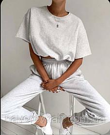 Женский спортивный костюм двойка серый оливковый малиновый 42-44 46-48 свободные штаны футболка короткая