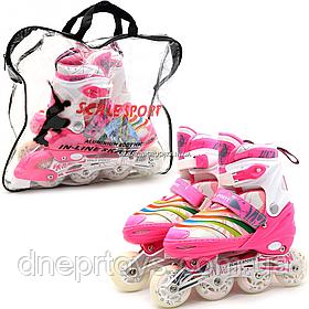 Дитячі ролики Scale Sports рожеві в сумці (розмір 35-38, метал, світяться колеса ПУ) 2088000022282