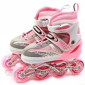 Дитячі ролики рожеві (розмір 28-33, метал, світяться колеса ПУ) 518333674-s