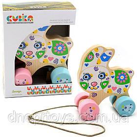 Детская деревянная каталка Зайчик Cubika (Кубика) 12022. Деревянные эко игрушки