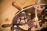 Люстра штурвал деревянная с компасом на 6 лампочек, фото 5