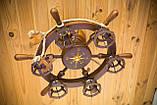 Люстра штурвал деревянная с компасом на 6 лампочек, фото 9