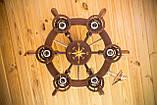 Люстра штурвал деревянная с компасом на 6 лампочек, фото 3