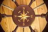 Люстра штурвал деревянная с компасом на 6 лампочек, фото 2