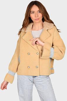 Куртка под альпаку женская бежевая размер 48-50 AAA 131888S