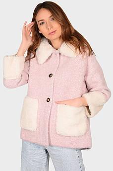 Куртка под альпаку женская розовая размер 46 AAA 131889S