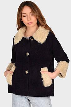 Куртка под альпаку женская темно фиолетовая размер 46 AAA 131891S