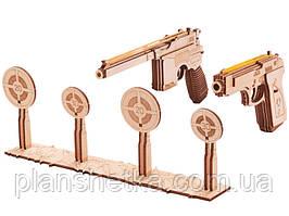 Деревянный 3D конструктор Набор пистолетов с мишенями