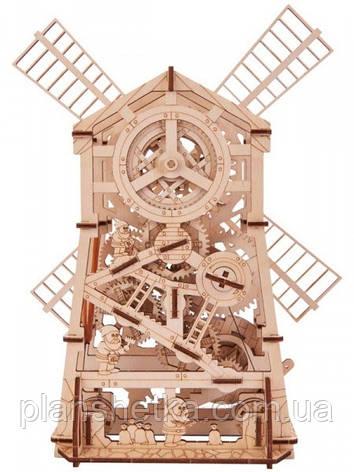 Деревянный 3D конструктор Мельница механическая, фото 2