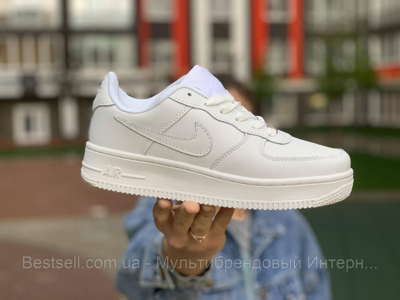 Кроссовки  белые низкие натуральная кожа Nike Air Force Найк Аир Форс (36,37,38,39,40,41)