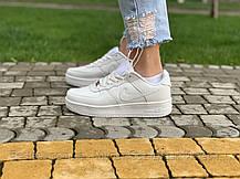 Кроссовки  белые низкие натуральная кожа Nike Air Force Найк Аир Форс (36,37,38,39,40,41), фото 3
