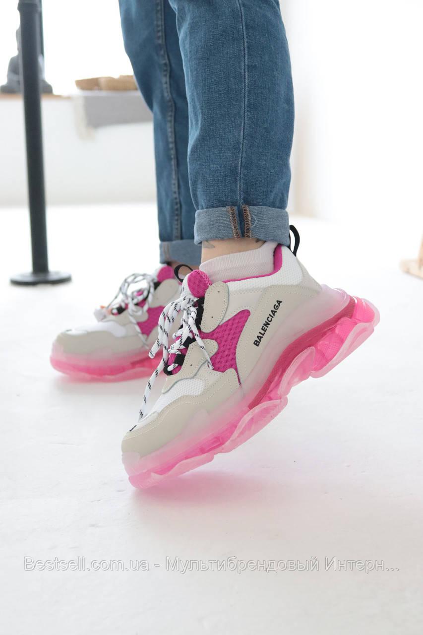 Кросівки Balenciaga Triple S White Pink Баленсіага Тріпл З Біло-Рожеві (37,38,39,40)