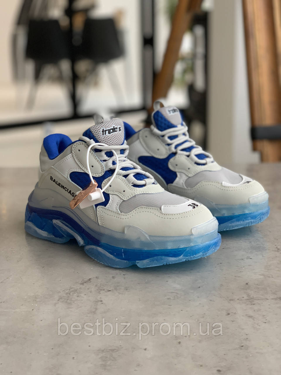Кросівки Balenciaga Triple S White Blue Баленсіага Тріпл З Біло-Сині (37,38,40)