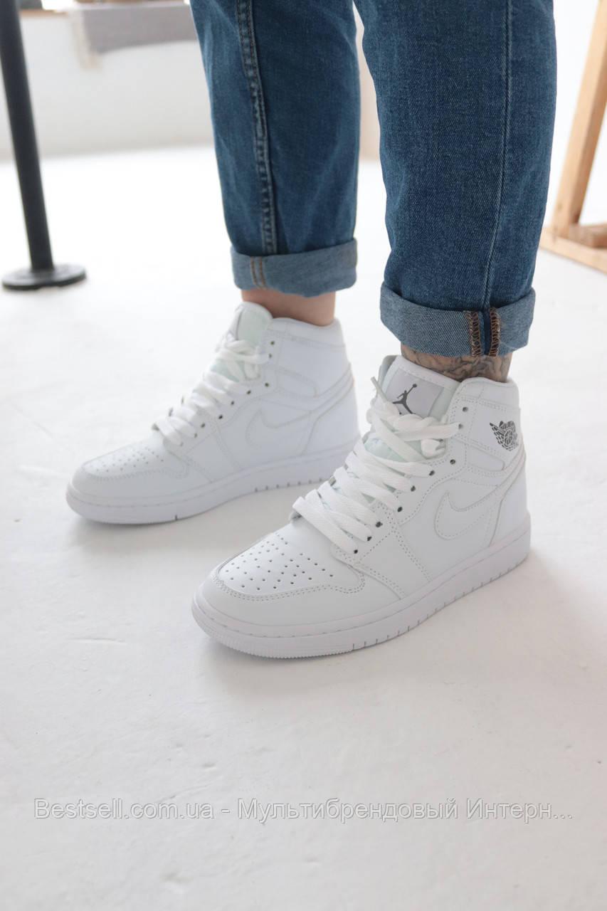Кросівки Nike Air Jordan 1 Retro White Найк Аїр Джордан 1 Ретро Білі (36,37,39,40)
