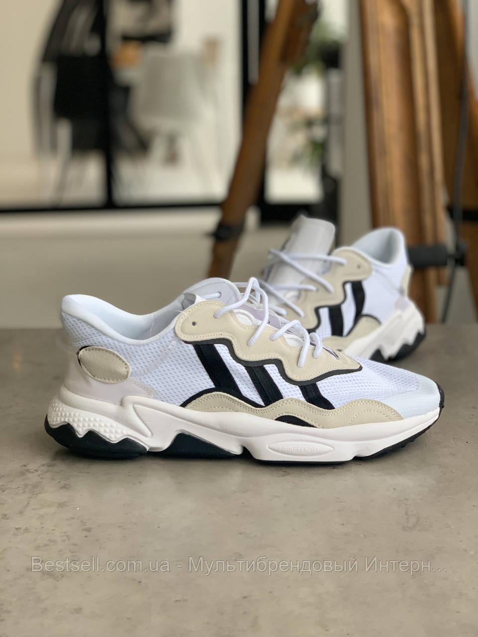 Кросівки Adidas Ozweego White with black stripes Адідас Озвиго Білі з чорними смужками, (41,42,43,44,45)