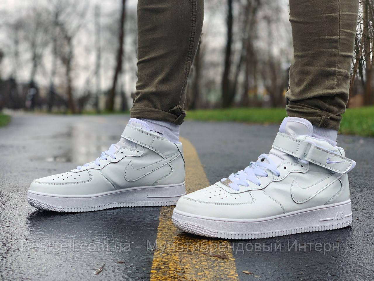 Кроссовки  высокие натуральная кожа Nike Air Force Найк Аир Форс (41,42)